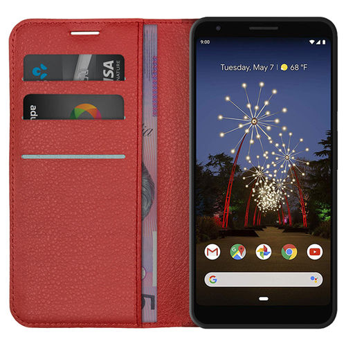 Leather Wallet Case & Card Slot Pouch for Google Pixel 3a XL - Red